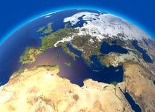 Fysieke kaart van de wereld, Europa en Noord-Afrika Bol hemisfeer Hulp en oceanen royalty-vrije illustratie