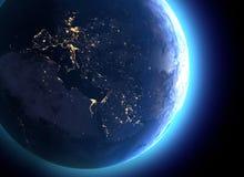 Fysieke kaart van de wereld, satellietmening van Europa en Noord-Afrika De mening van de nacht Stadslichten Bol hemisfeer hulp stock illustratie
