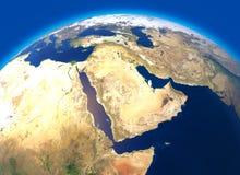 Fysieke kaart van de wereld, satellietmening van het Midden-Oosten Afrika, Azië Bol hemisfeer Hulp en oceanen royalty-vrije illustratie
