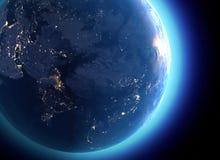 Fysieke kaart van de wereld, satellietmening van India, China, Rusland azië Bol hemisfeer Nachtmening, stadslichten royalty-vrije illustratie