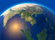 Fysieke kaart van de wereld, satellietmening van Zuidoost-Azië, Indonesië Bol hemisfeer Hulp en oceanen stock illustratie