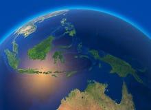 Fysieke kaart van de wereld, satellietmening van Zuidoost-Azië, Indonesië Bol hemisfeer Hulp en oceanen royalty-vrije illustratie
