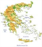 Fysieke kaart van Griekenland Stock Foto's