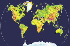 Fysieke wereldkaart in veelhoekige stijl op zachte donkerblauwe achtergrond Stock Afbeeldingen