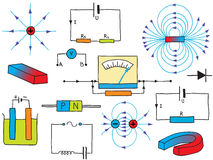 fysik för elektricitetsmagnetismfenomen Arkivfoto