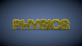 Fysiken word gjort av gula bollar Arkivfoto