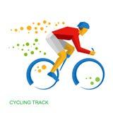 Fysisch gehandicapt fietser het Cirkelen spoor voor mensen royalty-vrije illustratie