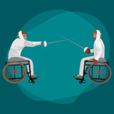 Fysisch gehandicapte atleten die een rolstoel inperken vector illustratie