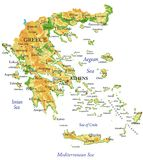 Fysisk översikt av Grekland Arkivfoton