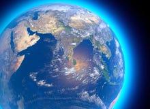 Fysisk översikt av världen, satellit- sikt av Indien askfat jordklot halvklot Lättnader och hav vektor illustrationer