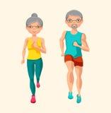 Fysisk aktivitet för pensionärer också vektor för coreldrawillustration Arkivfoto