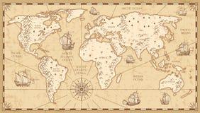 Fysisk världskarta för tappning med flod- och bergvektorillustrationen vektor illustrationer