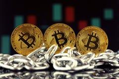 Fysisk version av Bitcoin den nya faktiska pengar och kedjan royaltyfri fotografi