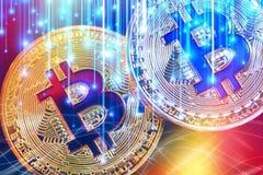 Fysisk version av Bitcoin nya faktiska pengar med färgrik effekt royaltyfri foto