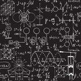 Fysiska formler, diagram och vetenskapliga beräkningar på den svart tavlan Royaltyfri Foto