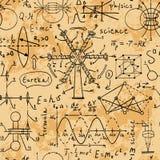 Fysiska formler, diagram och vetenskapliga beräkningar tillbaka skola till Royaltyfria Foton