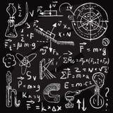 Fysiska formler och fenomen på den svart tavlan Royaltyfri Illustrationer
