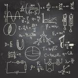 Fysiska formler och teckningar på en svart tavla Arkivfoto