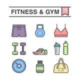 Fytness e ícones do GYM ajustados Imagens de Stock Royalty Free