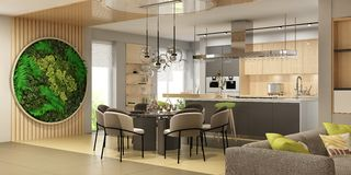 Fytowall in modern interior of living room united with kitchen in scandinavian style. Modern interior of living room united with kitchen in scandinavian style stock illustration