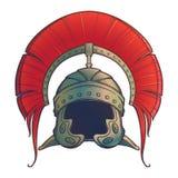 Gálea Capacete de Roman Imperial com a crista vestida tipically pelo centurion Front View ilustração royalty free