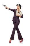 Gángster de la mujer con el arma Imágenes de archivo libres de regalías