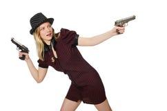 Gángster de la mujer joven con el arma Imágenes de archivo libres de regalías