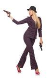 Gángster de la mujer joven con el arma Foto de archivo