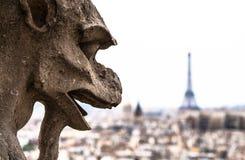 Gárgula da represa de Notre que olha a torre Eiffel  Fotografia de Stock Royalty Free
