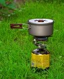 Gás-fogão de acampamento Fotos de Stock Royalty Free