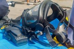 Gás mask um grupo de proteção individual significa fotos de stock royalty free