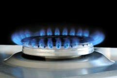 Gás natural que queima-se no fogão de gás da cozinha Fotos de Stock Royalty Free