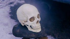 Gáss e fumo de exaustão do carro running do silencioso O crânio de uma pessoa que morresse das emanações e do ar de exaustão filme