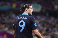 Gâche Andy Carroll de l'Angleterre Photos stock
