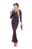 Gângster da mulher com arma Imagem de Stock Royalty Free