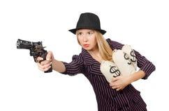Gângster da mulher com arma Fotografia de Stock Royalty Free