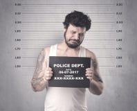 Gângster travado na cadeia fotografia de stock
