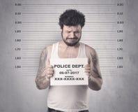 Gângster travado na cadeia fotos de stock