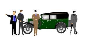 Gângsteres na frente do carro do vintage Imagens de Stock