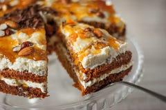 Gâteau à la carotte avec des amandes et des pommes chips de chocolat horizontales Images libres de droits