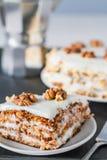 Gâteau à la carotte avec des noix Photo libre de droits