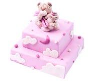Gâteau à plusiers étages rose fait main Image libre de droits