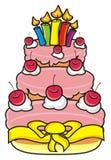 Gâteau à trois niveaux avec des bougies Image stock
