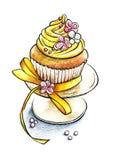 Gâteau appétissant peint de souffle de mains avec l'ornement et arc sur un pl Image stock