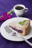 Gâteau au café avec des myrtilles Photographie stock