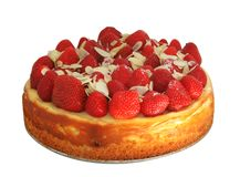Gâteau au fromage avec des fraises et des amandes Images stock