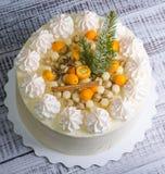 Gâteau au fromage crème de Noël Photographie stock libre de droits