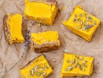 Gâteau au fromage cru de potiron de vegan Images libres de droits