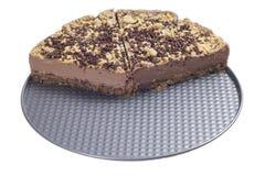 Gâteau au fromage de chocolat coupé en tranches par moitié Photographie stock