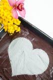 Gâteau au fromage de coeur de chocolat Photo libre de droits